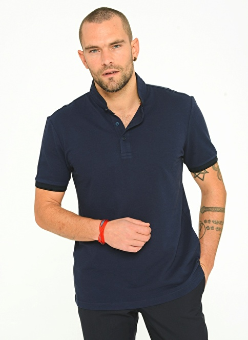 People By Fabrika Polo Yaka T-Shirt Lacivert